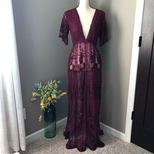 Honey Punch | Maroon Lace Maxi Dress